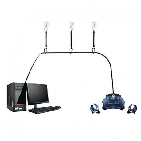 Système d'attaches rétractables pour câbles HTC Vive Cosmos